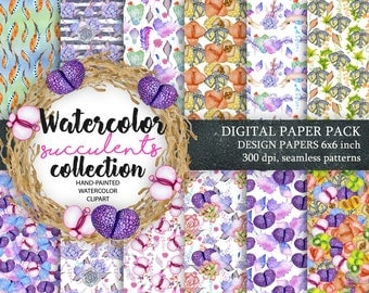 Digital Paper Pack, Waterclor seamless pattern, Watercolor Backgrounds, Floral Scrapbook Paper, Wedding Floral, DIY Pack, Succulent clip art