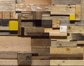 Scrap Wood Feature Wall - Reclaimed Timber Blocks Cladding - Wall Art