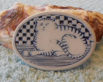 The Potters - Blue and white Cat Pin made with ceramic clay