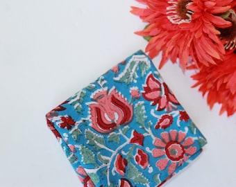 Blue napkins - SET OF 4 napkins for summer - flowers print cotton dinner napkins gift for her