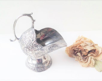 Vintage Ornate Silver Sugar Scuttle / Silver Sugar Scoop / Silver Scoop / Silver Sauce Holder / Silver Diningware / Silver Dining Table
