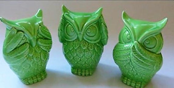 Vintage ceramic lime green owls see no hear no speak no evil - Hear no evil owls ceramic ...