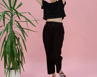 FREE SHIPPING Vintage high waisted pants, 80s velvet dark purple pants, High rise pants, Pleated pants, Tapered pants, 90s pants