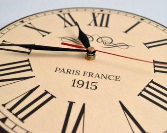 Roman Numeral Clock-Beige Wall Clock-Vintage Clock-Round Wood Clock-Beige-Handmade Beige Clock-Classic Clock-Mid Century Clocks