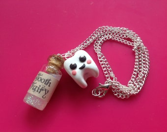 Tooth fairy necklace handmade glitter cute gift
