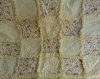 Handmade Baby  Girl Rag Quilt Throw / Yellow with Butterflies and Daisies / Eyelet Too