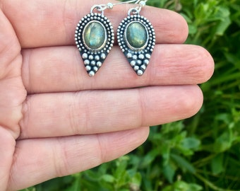 Statement green labradorite drop earrings