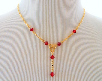 """Vintage Avon Lariat Red Crystal Beaded Necklace Gold Tone 18"""", Lariat Necklace, Boho Chic, Delicate, Retro, Costume Jewelry, Vintage Avon"""