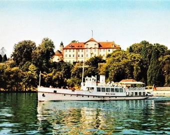 Vintage 60s German Travel Postcard Insel Mainau im Bodensee Lake Constance Boat Real Photo