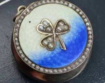 1903 Sterling Silver, Guilloche Enamel & Seed Pearl SHAMROCK Pill Pot PENDANT - Full English Hallmark - Gilt Inside