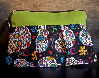 Handmade Pleated Wristlet Sugarskulls