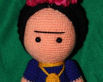 Frida Doll- Frida Kahlo de Rivera- Amigurumi-Gift for her - Bohemian Artist -Frida Kahlo ART - Mexican artist Frida-Crochet Frida