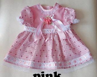 Dress reborn/ doll clothes/ doll dress/ frilly dress/ elegant dress/ for 21 inch doll/ dress doll/ dress up doll/ little dress/ pink dress