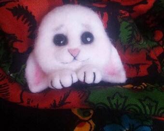 Needle felted Bunny brooch, white bunny, brooch, animal brooch