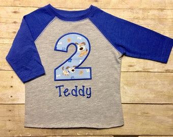 Boys birthday shirt, puppy dog shirt, puppy party, girls birthday shirt, name and number, puppies raglan, applique, personalized, blue
