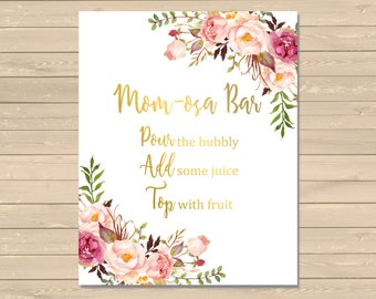 Gold Boho Floral Momosa Bar Sign, Momosa Bar Printable Baby Shower Sign, Floral Boho Momosa Bar Shower Sign, Peonies, Instant Download 025-G