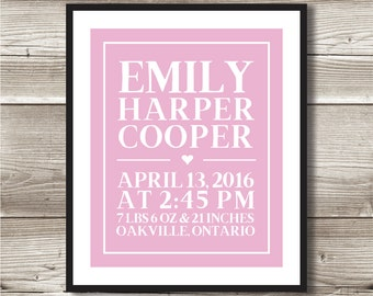 Birth Print for Nursery; birth information, personalized, digital print; birth details print