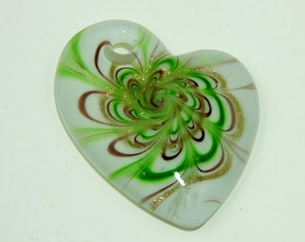 Large Heart Pendant Fused Glass Gold White and Green
