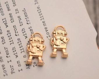 20 robot charms gold robot charm pendants