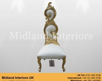 NEW Sofia Baroque Throne Chair - Gold & White leather