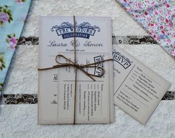 Emily Wedding Invitation Bundle with RSVP - SAMPLE ONLY