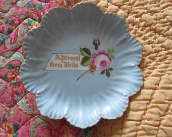Porcelain Souvenir plate 'A present from Wells'