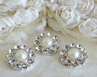 Ivory Pearl Buttons Set In Silver Tone Metal Pearl Buttons W/ Surrounding Czech Glass Rhinestones Button Brooch Bouquet 18mm 2997SM 08 2