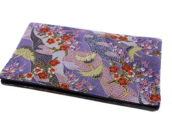 Fabric checkbook Japanese crane purple