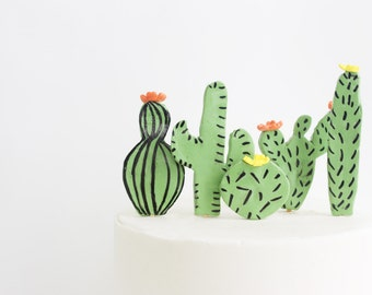 Fondant Cactus Cake Toppers, Edible Cake Toppers, Wedding Decoration, Party Cake Topper