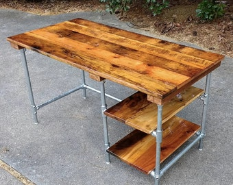 Custom Desk made from reclaimed wood bar top any finish