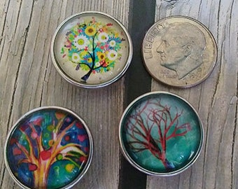 Interchangeable Snap Button Jewelry, Tree's Set of 3, #e-124