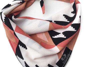 Tribal Dog Bandana, Boho Dog Bandana,Pink/White/Black/Brown Dog Bandana, Tie On Dog Bandana