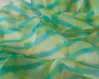 Hand painted yellow and green chiffon silk scarf. 145cm long and 40cm wide