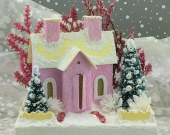 Pink and Yellow Putz House / Glitter House / Christmas Village / Putz Glitter House / vintage style / Handmade Putz / Handcrafted Putz /Gift