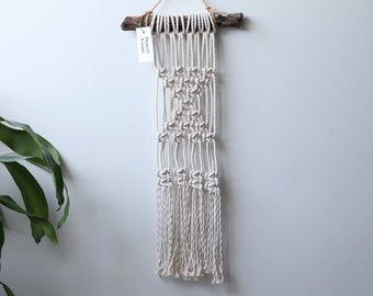 Small Triangles Macrame hung on driftwood