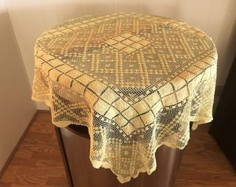 Vintage Filet Lace Small Tablecloth/Table Topper, Yellow Gold Colored Filet Lace  Tablecloth,