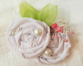 Grace's White Rose Duo Hair Piece