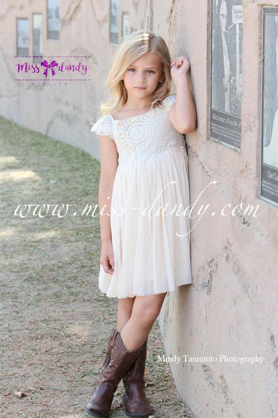 Rustic Crochet Flower Girl Dress, Boho Beige / Cream Crochet Rustic, Champagne Bohemian Boho Rustic Wedding Flower girl Dress, Sienna Dress