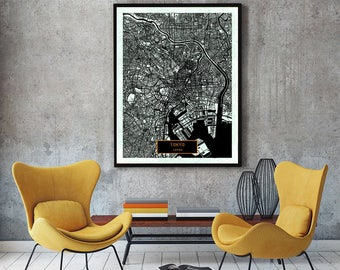 TOKYO Japan CANVAS Large Art City Map Tokyo Japan Art Print poster map art jt Wall Art Home Decor JackTravelMap