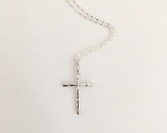 Silver Cross Necklace-Cross Necklace-Dainty Cross Necklace-Hammered Cross-Delicate Cross Necklace-Silver Plated Cross Necklace-Cross