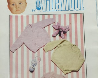 Baby Knits no.1 Villawool Baby Knitting Patterns  - 1970s Bonnets, Bootees, Vintage Knitting Patterns - 21 Pages