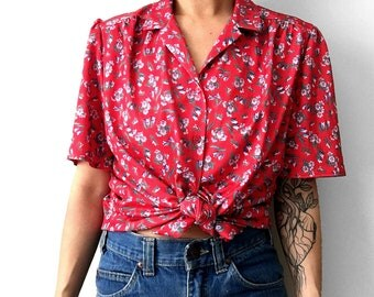 Vintage, 1970's, Red, Floral, Pleated-Shoulder, Short-Sleeve, Button-Down, Collared, Shirt
