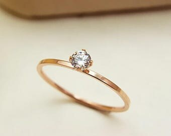 Delicate Rose Gold Tiffany Inspired Round Simulated Diamond Solitaire Ring ~ Ready To Ship ~ Size 6 7 8