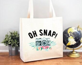 Tote Bag, Photographer Bag, Canvas Bag, Handbag, Photography Gift, Photographer Gift, Wedding Photographer, Oh Snap, Funny Photographer