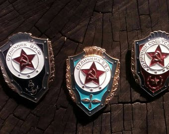 Set of 3 Soviet Military Pins, Soldiers Badge, Soviet Army Pins, Soviet Military Badge, Military Badge, USSR Soldiers Pin, Soviet Army Pins