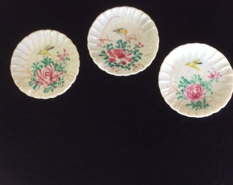 SALE! Vintage Butter Pats, Handpainted. 2 Birds, 1 Butterfly, 3 dishes