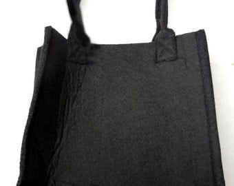 Plain black felt hand bag