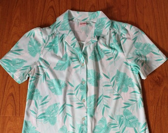 Vintage Graff teal and white leaf blouse with scalloped collar