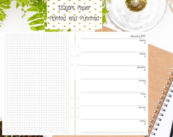 A5 WO1P Horizontal with Grid Inserts for A5 Filofax | Large Kikki K | Carpe Diem and Equivalent Planners