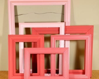 6 Pink & Coral Picture Frame Set Nursery Frames Hanging Vintage Picture Frames Wedding Decor Shabby Chic Cottage
